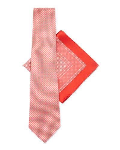 Silk Tie & Pocket Square Set, Red/Blue