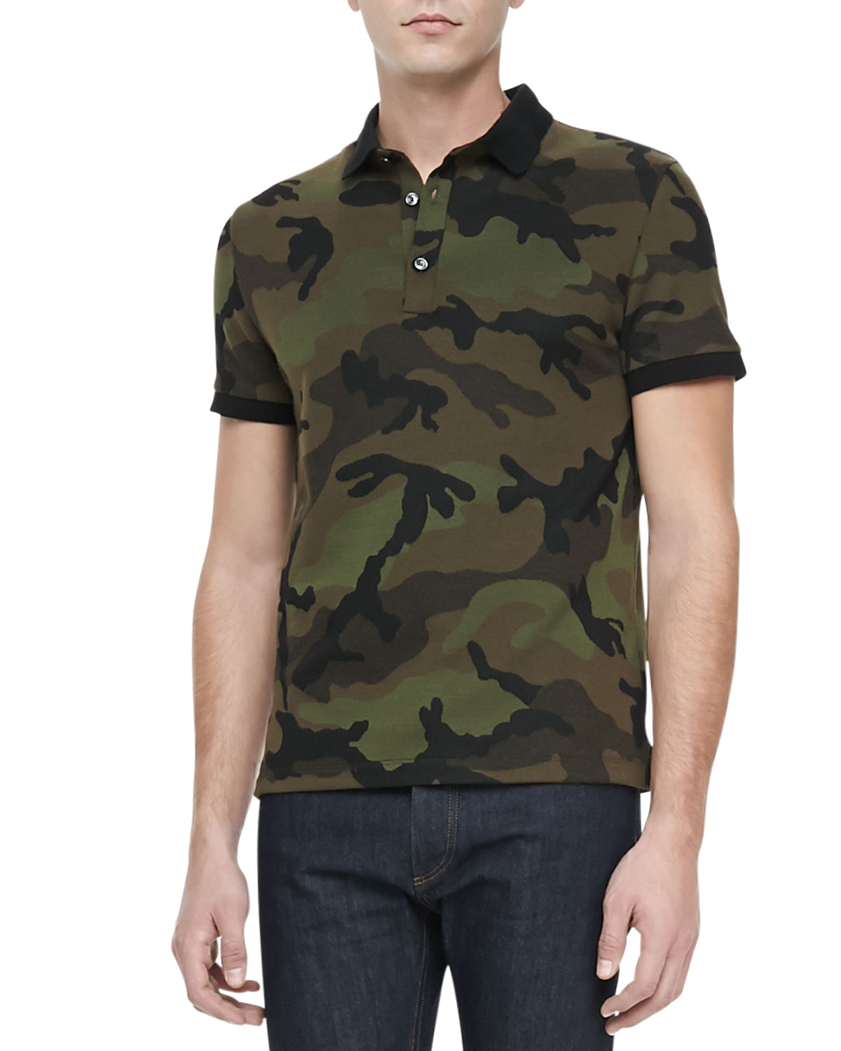 Camo-Print Short-Sleeve Polo, Green/Brown