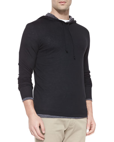 Double-Layer Knit Hoodie
