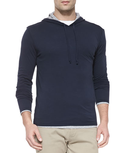 Double-Layer Hoodie Pullover, Navy