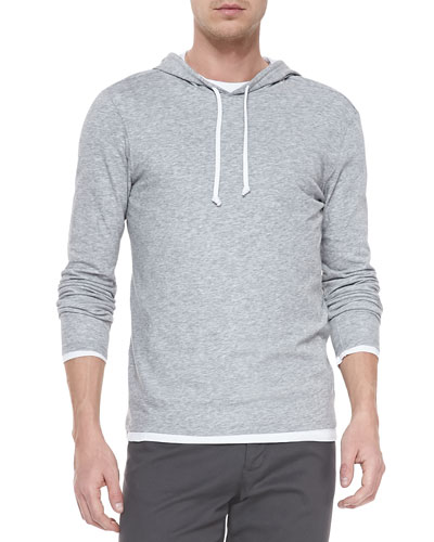 Double-Layer Hoodie Pullover, Heather Steel