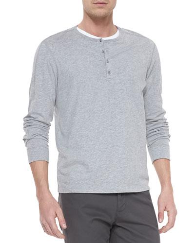 Long-Sleeve Jersey Henley, Gray