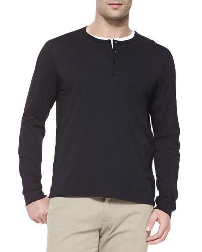 Long-Sleeve Jersey Henley, Black