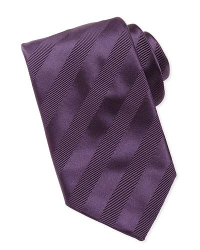 Textured-Stripe Silk Tie, Purple