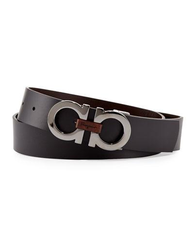 Men's Reversible Double-Gancini Belt, Black/Brown