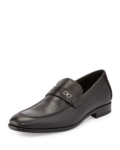 Paros Calfskin Loafer with Double Gancini Side Ornament, Black