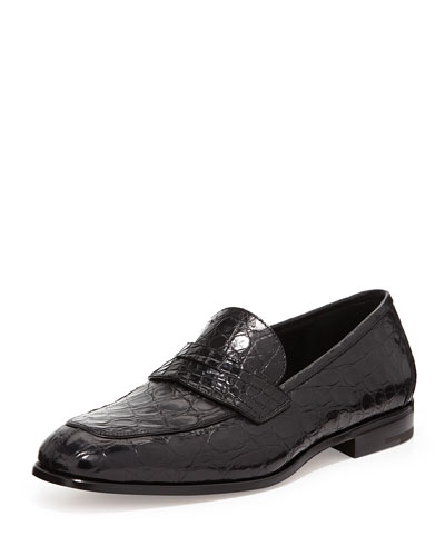 Pablo 2 Crocodile Penny Loafer, Black