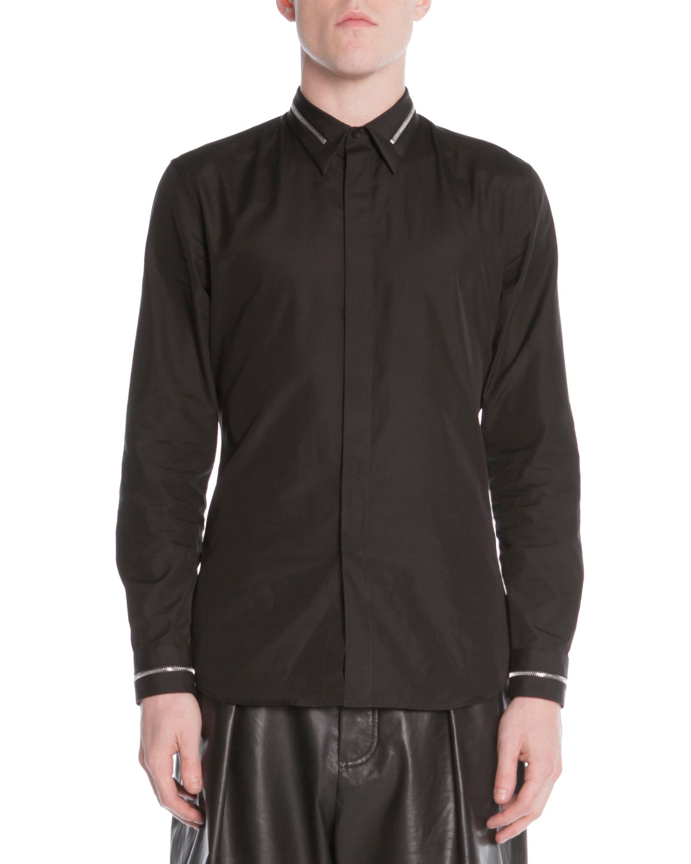 Zip-Collar Dress Shirt, Black