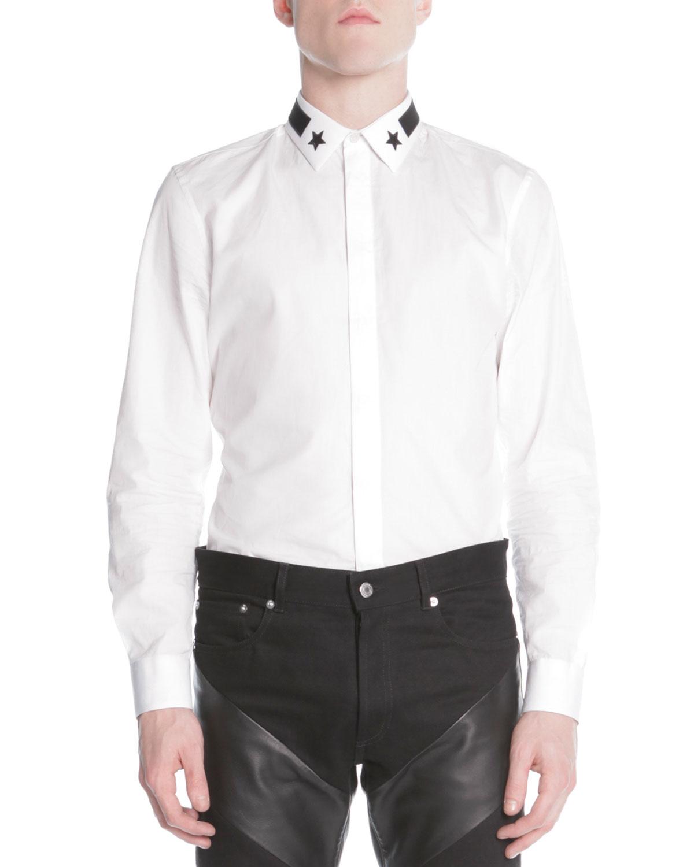 Star & Stripe Collar Button-Down Shirt