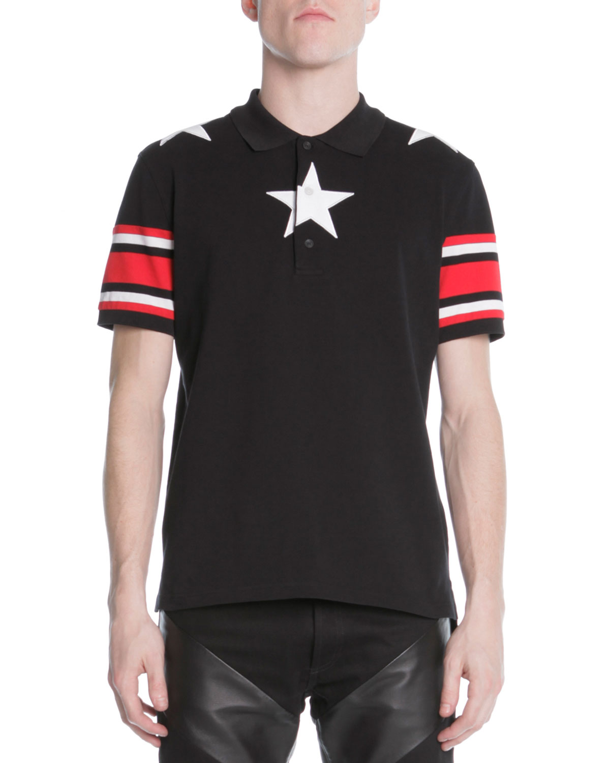 BLK POLO W 3 STARS AND RED/B