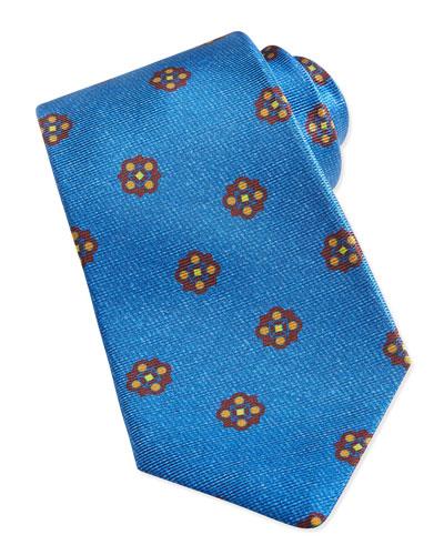 Flower-Medallion Pattern Tie, Light Blue