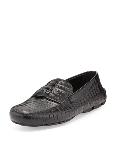 Stamped Croc Loafer, Black