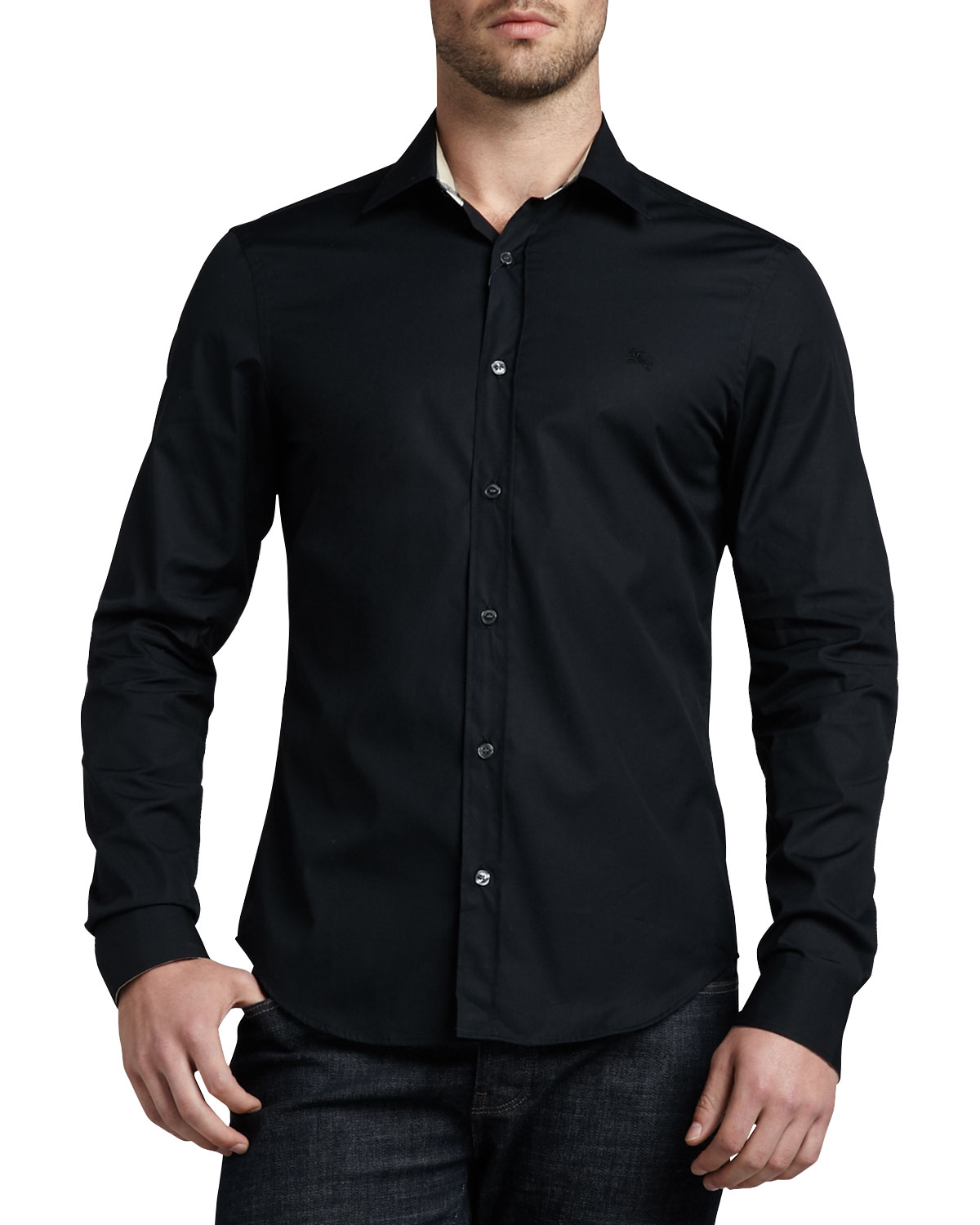 Henry Check-Trim Button-Down Shirt