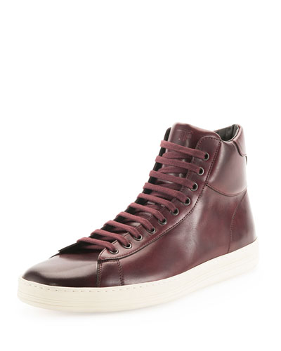 Russel Leather High-Top Sneaker, Burgundy