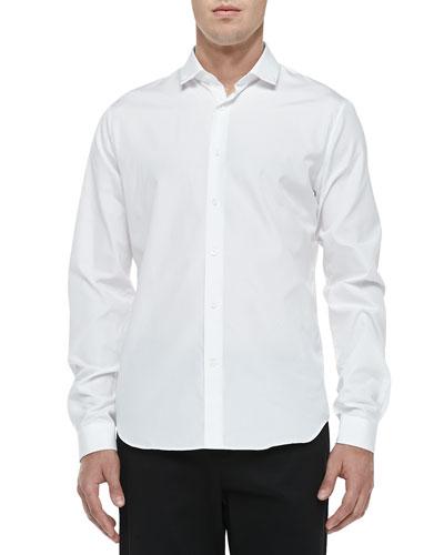 Stud-Collar Button-Down Shirt, White