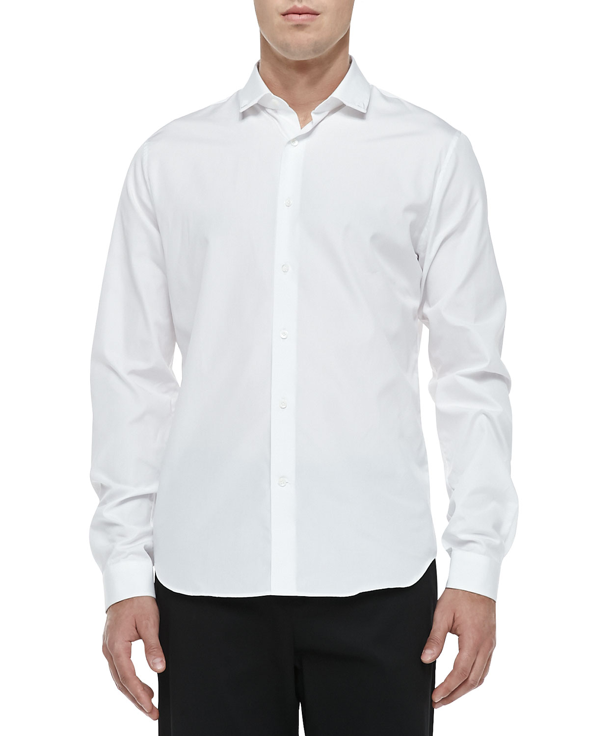 Stud-Collar Button-Down Shirt, White