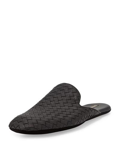 Men's Woven Leather Scuff Slipper, Black