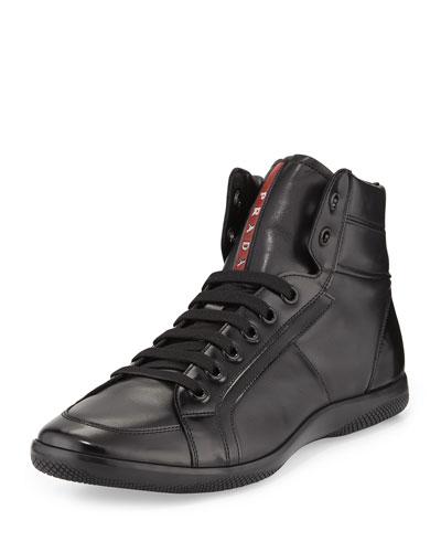 Napa Leather High-Top Sneaker, Black