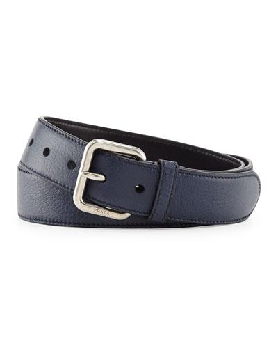 Dino Silver-Buckle Belt, Blue