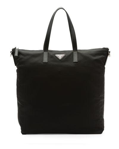 Men's Nylon Zip Tote Bag with Strap, Black