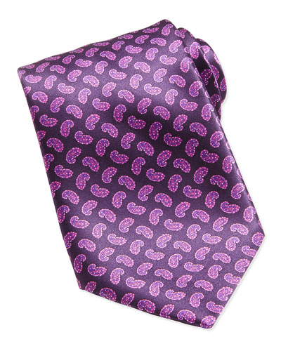 Paisley-Print Woven Silk Tie, Pink