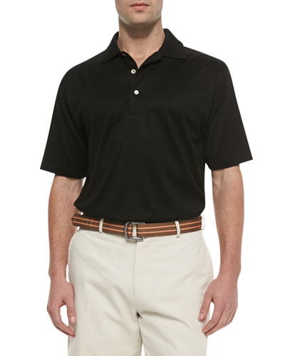 Cotton Short-Sleeve Polo, Black