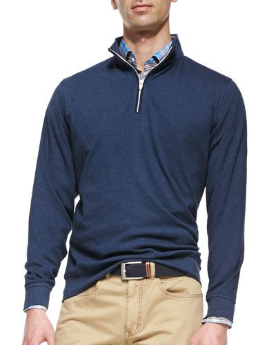 1/2-Zip Jersey Pullover Sweater, Navy