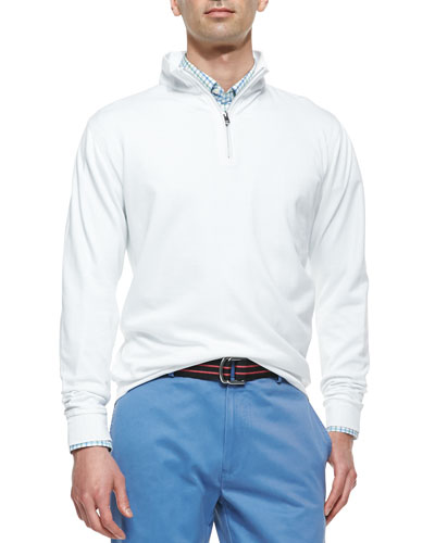 1/2-Zip Jersey Pullover Sweater, White