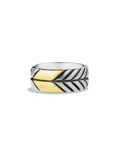Modern Chevron Band Ring with Gold