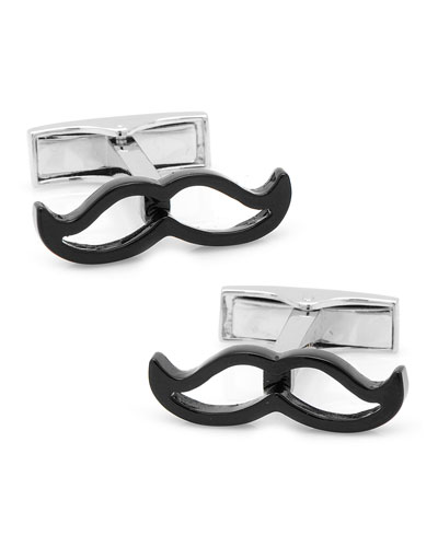 Enamel Mustache Cuff Links, Black