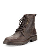 Stanley Wing-Tip Leather Boot, Brown