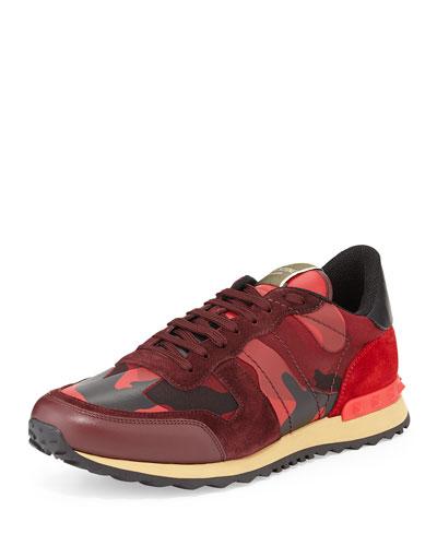 Men's Rockrunner Camo-Print Sneaker, Red