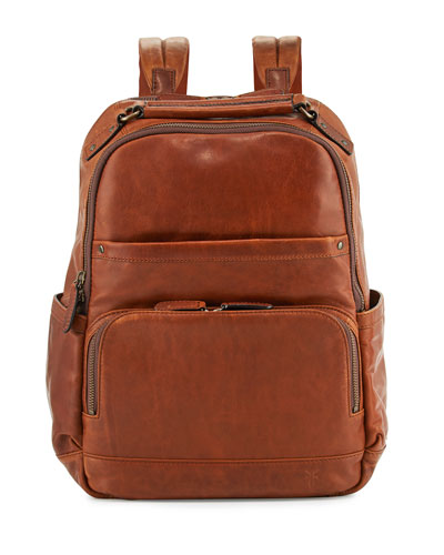 Logan Men's Pull-Up Leather Backpack, Cognac