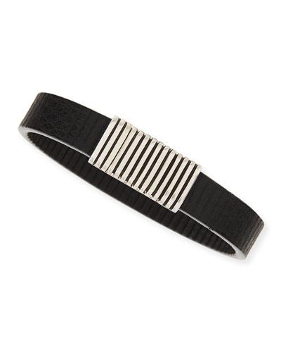 Men's Bedeg Linear Stripe Leather Bracelet