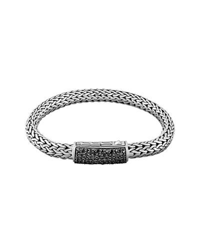 Men's Classic Chain Black Sapphire Station Clasp Bracelet