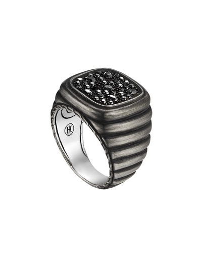 Bedeg Linear Line Square Ring with Black Sapphire