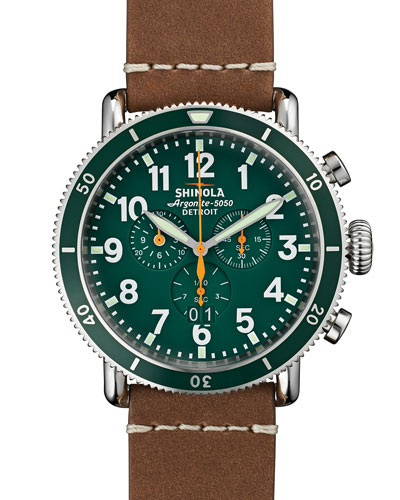 47mm Runwell Sport Chronograph Watch, Brown/Green