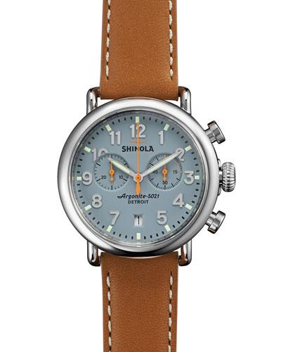 Men's 41mm Runwell Chrono Watch, Light Brown/Gray
