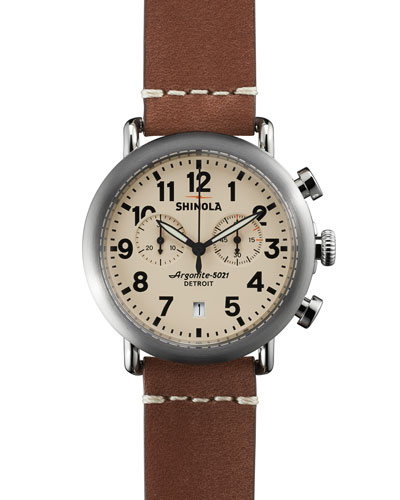 41mm Runwell Chrono Watch, Dark Brown