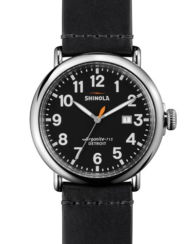 47mm Runwell Leather Watch, Black