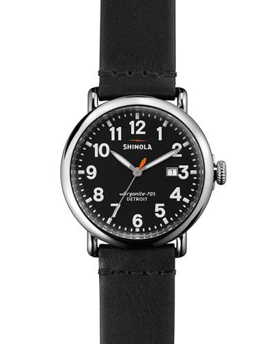 41mm Runwell Leather Watch, Black