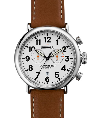 41mm Runwell Chrono Watch, Brown/White