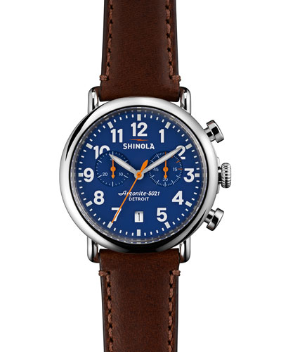 41mm Runwell Chrono Watch, Dark Brown/Blue
