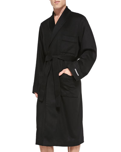 Cashmere Belted Robe, Black