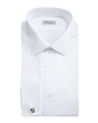 Solid Poplin French-Cuff Shirt, White