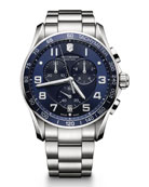 Chrono Classic XLS Stainless Chronograph Watch with Blue Dial