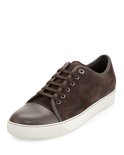 Men's Suede Cap-Toe Low-Top Sneaker, Brown
