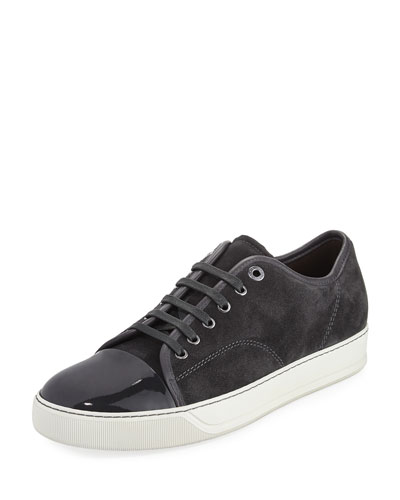 Suede & Patent Leather Low-Top Sneaker, Navy