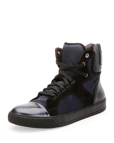 Mixed-Media High-Top Sneaker, Navy