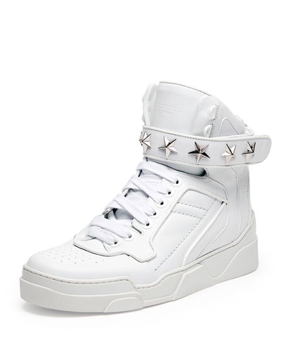 Tyson Cap-Toe Leather High-Top Sneaker, White